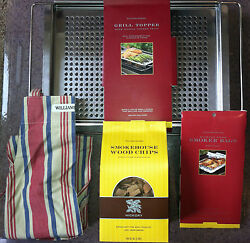 New William Sonoma Grill/bbq Set Grilling Rack W/smoker Chips, Apron And Bags