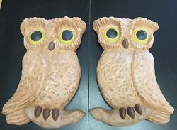 Vtg Hand Painted Arnels Pottery Mold Retro Owl Figurines Wall Hanging/decor