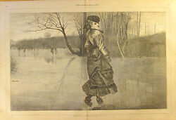 Winslow Homer Cutting A Figure Ice Skating Vintage 1871 Antique Art Print