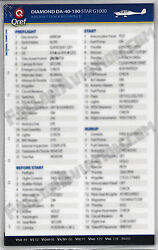 Diamond Star Da40 G1000 Quick Reference Aircraft Checklist Card By Qref