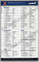 Piper Cherokee 180 Pa-28-180 Quick Reference Aircraft Checklist Card By Qref