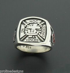 Masonic Knights Templar Cross Ring 017r Sterling Silver .925 Oxidized And Red