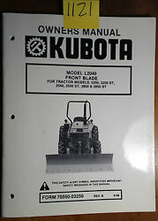 Kubota L2040 Front Blade 2250 2550 2850 Dt Owner Operator Parts Manual Rev B And03986