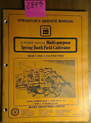 Mckee 3 Point Hitch Multi-purpose Spring Tooth Field Cultivator Base I Ii Manual