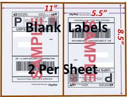 S 4000 Shipping Labels Blank Labels -2/sheet-usps Ups Fedex Paypal Self Adhesive