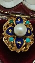 Incredible Works Of Art Deco Enamel 75018k Yellow Gold Pearl Turquoise Ring