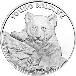 Tiger Young Wildlife Series-5 Dollar Cook Islands-1 Oz Silver Proof Coin 2013