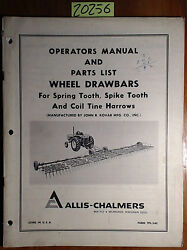 Allis-chalmers Wheel Drawbar For Spring Spike Tooth And Coil Tine Harrows Manual