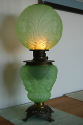 Antique Oil Baby Face Angel Victorian Rococo Banquet Apple Green Glass Gwtw Lamp