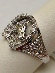 Men's Horse And Horse Shoe Horseshoe Ring 10k Gold With Diamond Clearance Sale