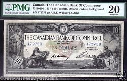White Background Scarce1917 Canadian Bank Of Commerce 10 Chartered Banknote