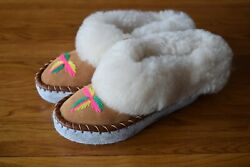 Women Girls Ladies Natural Leather Sheepskin Slippers Moccasins All Size