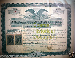 Allegheny Construction Company West Virginia 1898 Scarce Historical Document