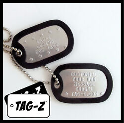 Custom Embossed Military Dog Tags - Stainless Steel - 42 Silencer Colors Tag-z