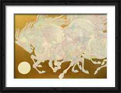 Guillaume Azoulay Original Color Pencil And Hand Colored Gold Horse Drawing Framed