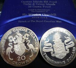 1974 Turks And Caicos 20 Crowns And Cayman Islands 25 2 Silver Coins Abt 3 Ounces