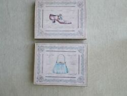 Two Lovely Framed Pictures Of Victorian Shoe And Purse / Wall Decor
