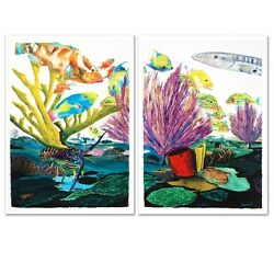 Coral Reef Life By Wyland Limited Numberedand Hand Signed Diptych Set On Canvas