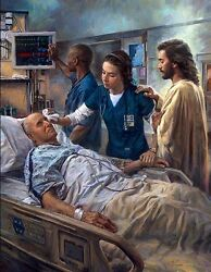Nathan Greene The Healer Jesus And Nurse In Hospital Room Large 30x40 S/n Canvas