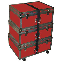 Triple Accessory Case Rolling Stack 1/4 Medium Duty - Many Colors - Red
