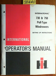 Ih International Harvester 730 750 Pull-type Windrower Owner Operator Manual And03984