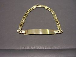 Fine Mens Yellow Gold Solid Name Id Plate Bracelet 8 Long 14 Karat New Wow
