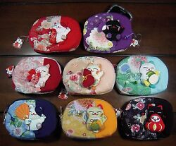 Lucky Cat Japan Maneki Neko Chirimen Kimono Silk makeup Purse camera bag phone