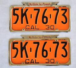 McAlister Inc Plymouth Dealer Fresno CA License Plate Frames Pair 1929 -1939