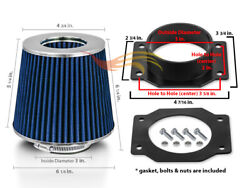 Air Intake Maf Adapter + Blue Filter For 99-04 Nissan Frontier Xterra 3.3l