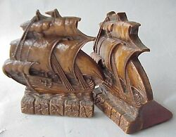 Very Vintage Syroco / Ornawood Clipper Ship Bookends.