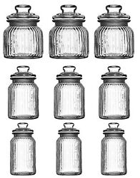 Glass Storage Jars Ribbed Vintage For Sweets Candy Tea Coffee Sugar Set Of 3