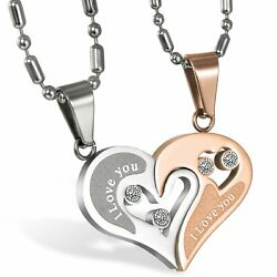 Stainless Steel quot;I Love Youquot; Love Heart Couple Pendant Matching Necklace Chain