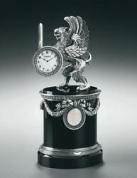 Imperial FABERGE  SILVER   AND ONYX  GRYPHON DESK CLOCK limited edition of 50