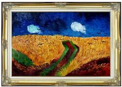Framed Van Gogh Field With Crows Repro Hand Painted Oil Painting 24x36in