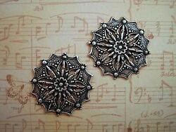 Large Oxidized Silver Plated Filigree Stamping 2 - Sorat3630