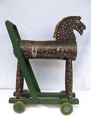 Antique Folk Art Carved Painted Horse Pull Toy