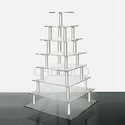 8 Tier Acrylic Square Tower Cupcake Stand Wedding Anniversary Birthday Party
