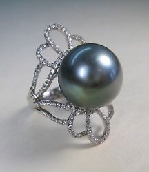 15 Mm Tahitian Pearl With Cz Ring Grey With Green Overtone - 925 Sterling Silver