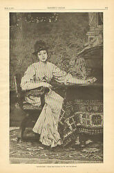 Solitaire, Playing Cards, Victorian Lady, Vintage, 1887 Antique Art Print.