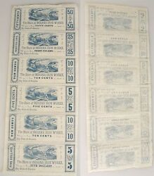Indiana Iron Works Currency Scrip 1856 Uncut Sheet Of 65 Dollars5025105