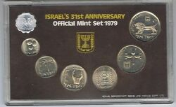 1979 Israel Official Mint Set - 7 Marked Coins Uncirculated + Coa + Case