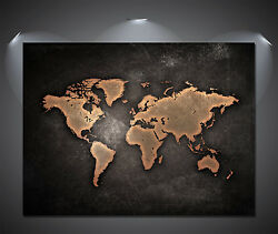 Vintage World Map Black Poster A0 A1 A2 A3 A4 Sizes