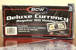 50 Bcw Deluxe Semi Rigid Currency Sleeve Regular Bill Banknote Holder Pvc Case
