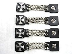 4 Pc Motorcycle Biker Vest Chain Extenders High Quality Made Iron Maltese Cross