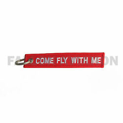 Come Fly With Me - Keychain - Red Embroidered - For Pilots And Flight Attendants