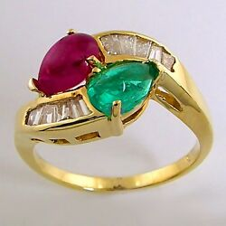 Estate 18k Gold 2.58ctw Emerald Ruby And Baguette Diamond Twist Cocktail Ring Mint