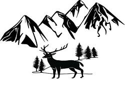 Mountains and a Buck wall mural vinyl decal
