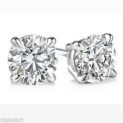 .91 Ct Round Cut D Color Si1 Clarity Diamond Stud Earrings 14k White Gold
