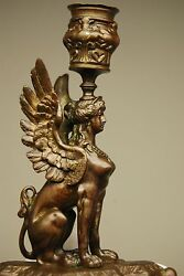 Antique English Bronze Egyptian Revival French Sphinx Dog Candlestick Candelabra