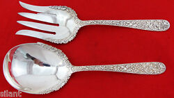 Rare Kirk Repousse Sterling Silver 9 3/4 Salad Set W/applied Border